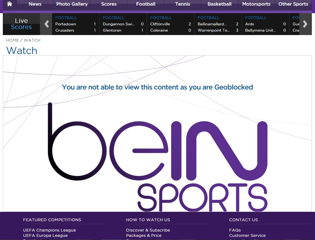 Unblock Bein Sports GeoBlocked error