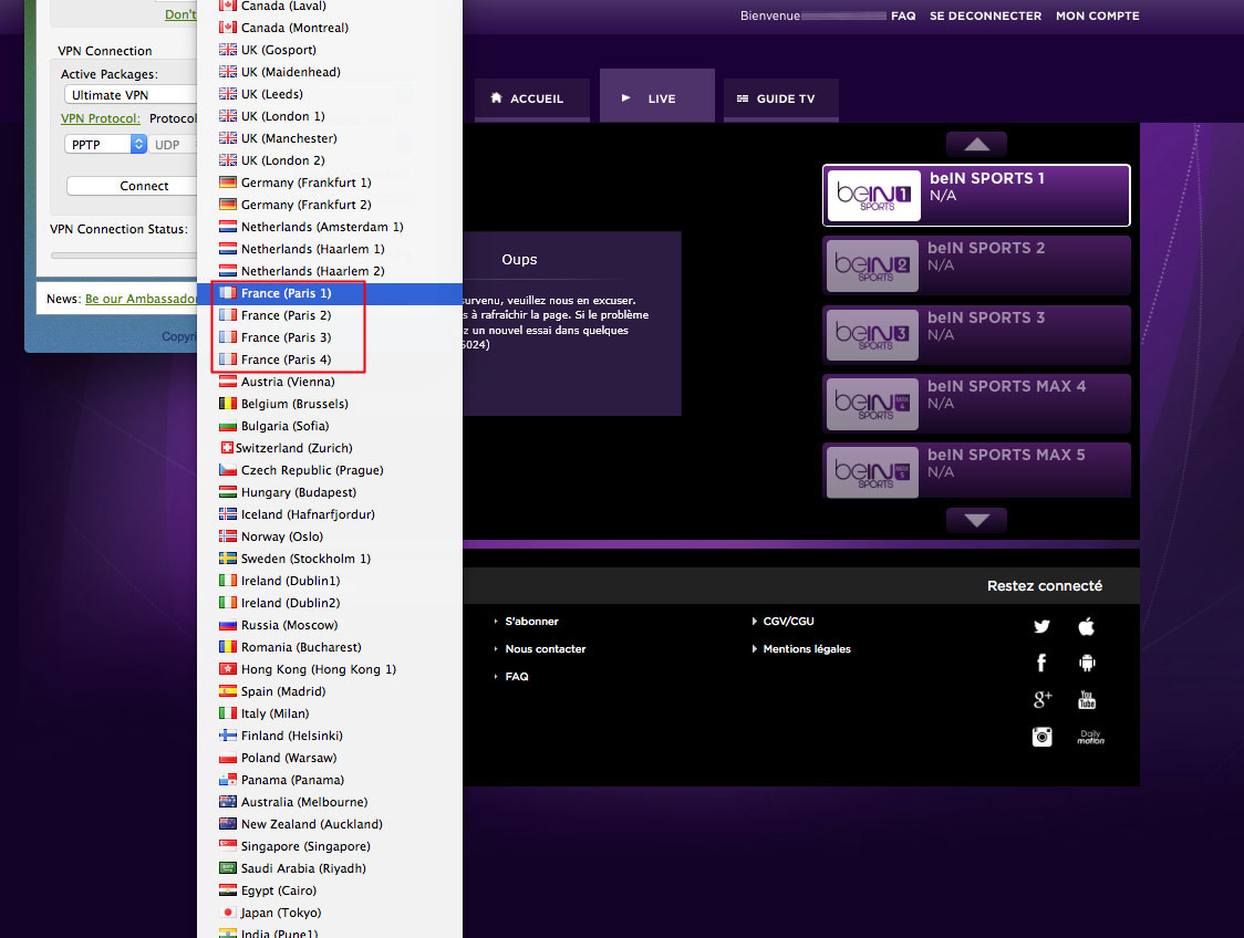 Unblock Bein Sports Connect France GeoBlocked error-8