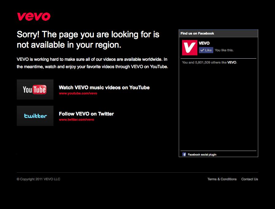 VEVO not availble - GeoBlocked