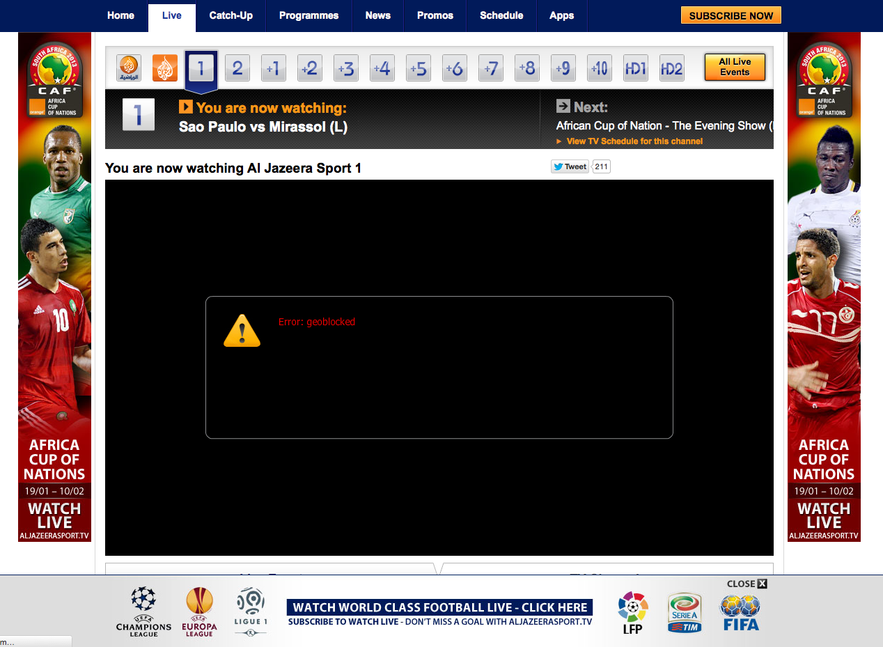 Unblock Al Jazeera Sport GeoBlocked error