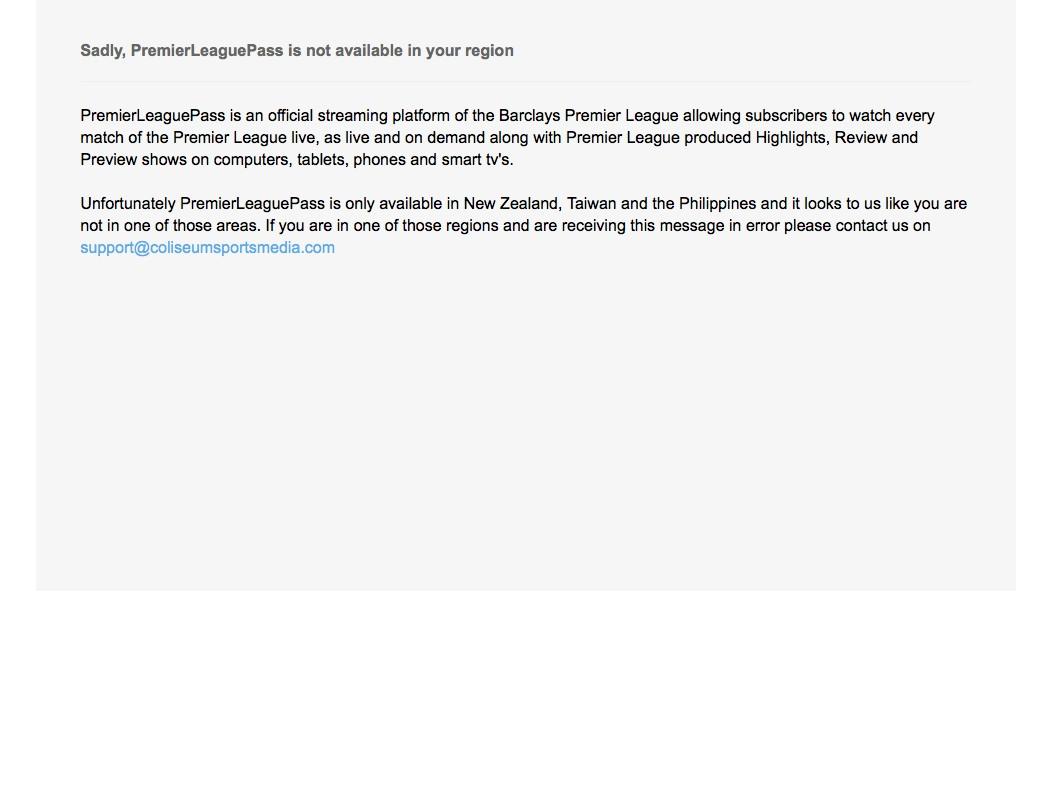 premierleaguepass not availble - GeoBlocked