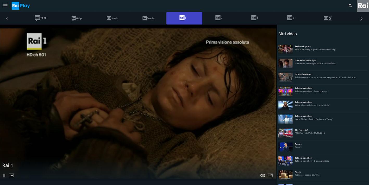 RaiPlay dirette TV not availble - rai 1 free streaming online Live