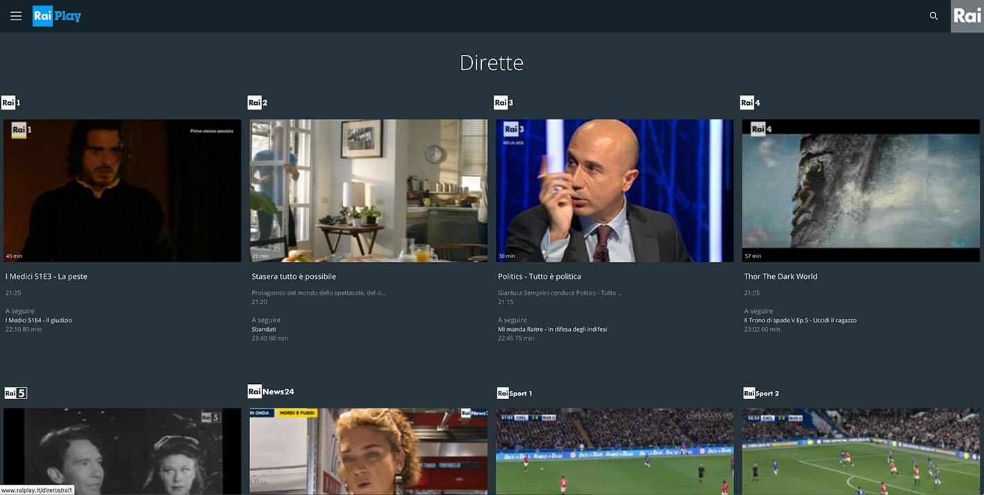 RaiPlay dirette TV not availble - GeoBlocked