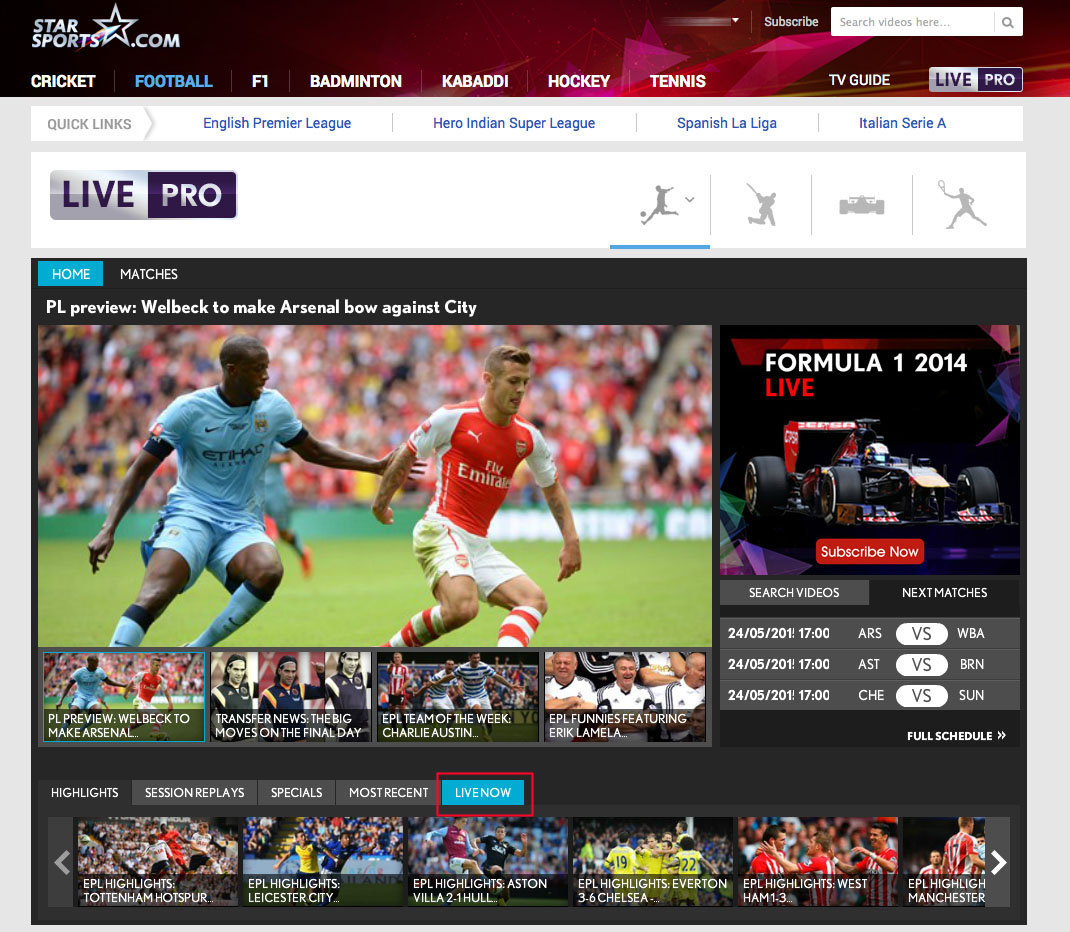 Watch Star Sports Live Player