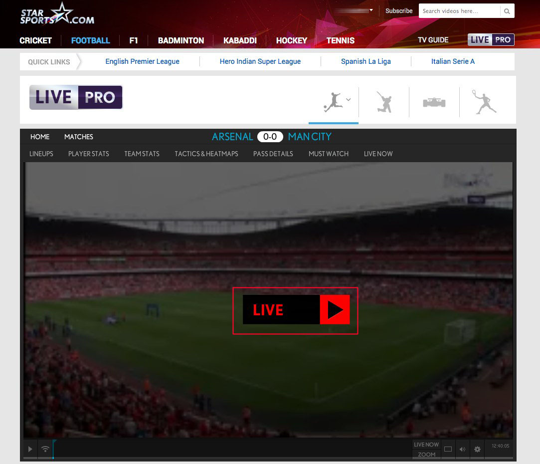 unblock Star Sports Live HD Player