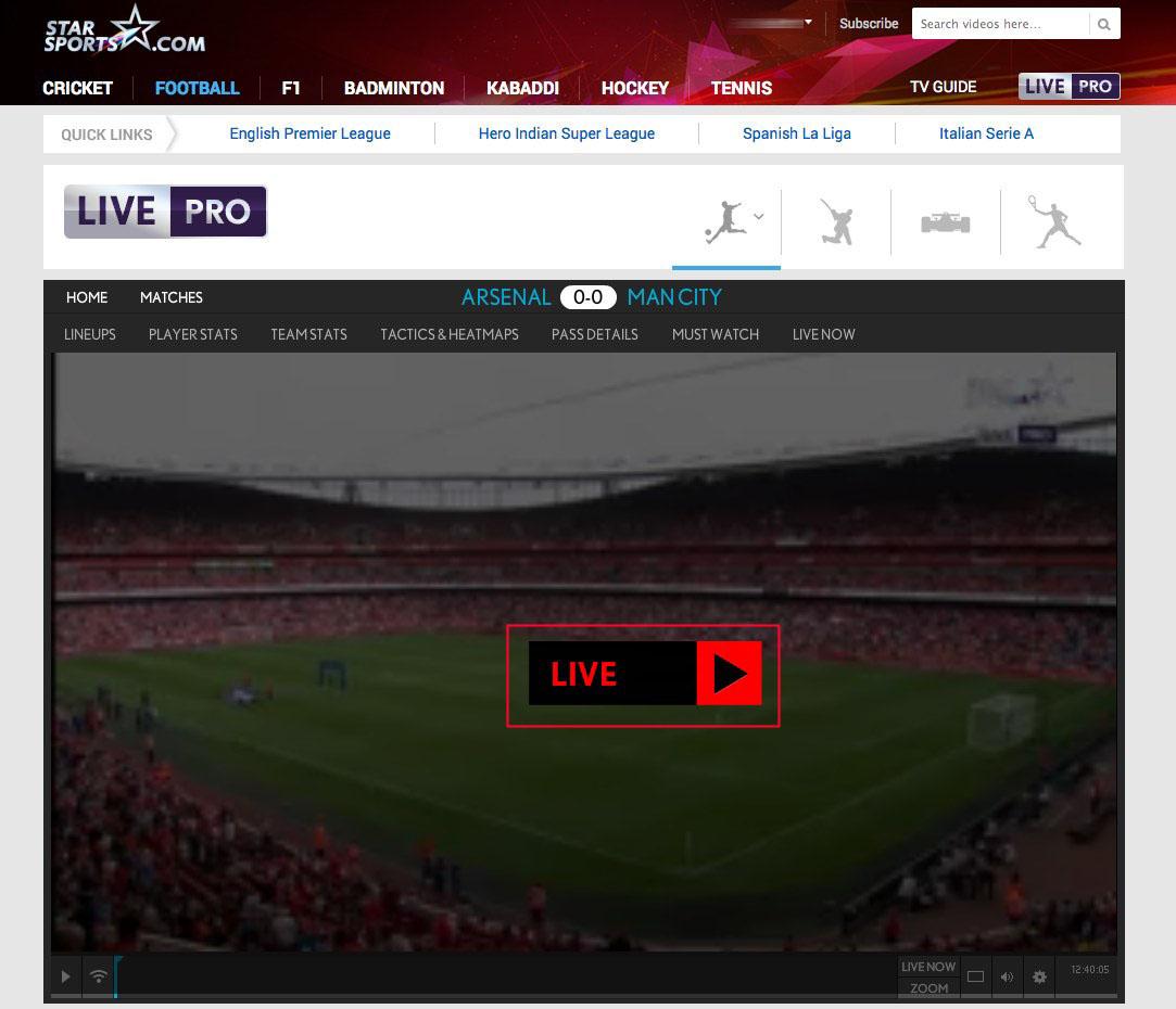 unblock Star Sports Live HD Player