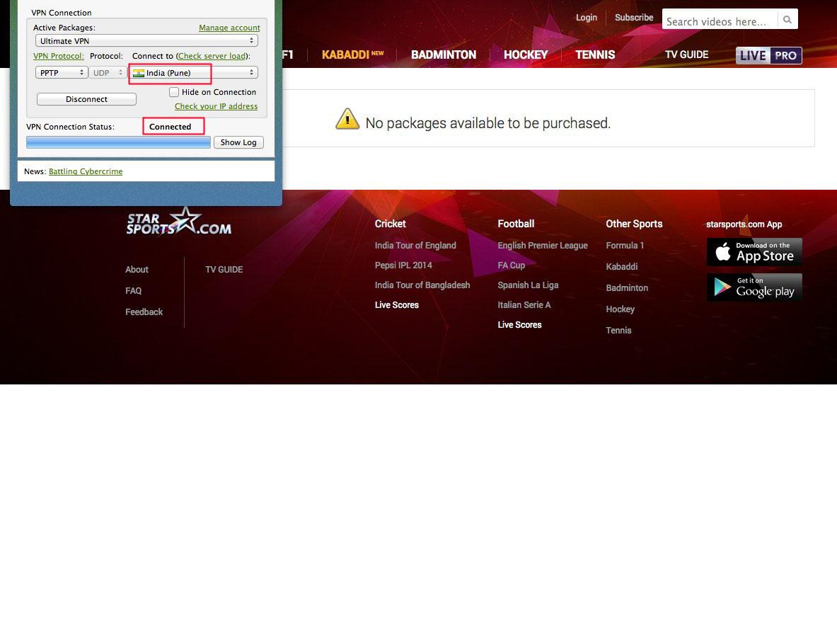india server VPN to unblock Star Sports free